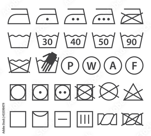 Set of washing symbols (Laundry icons)