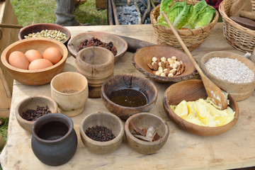 Medieval food table