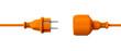 Leinwanddruck Bild - Orange connection cable - unplugged