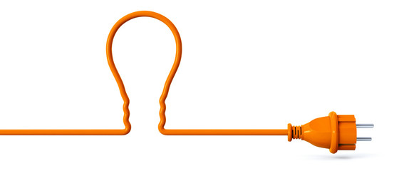 Orange power plug - light bulb