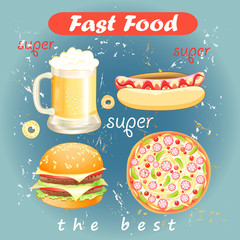 Set of food and drink fast food