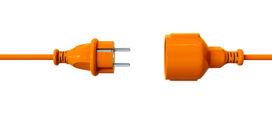 Orange connection cable - unplugged