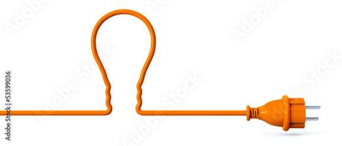 Leinwanddruck Bild Orange power plug - light bulb