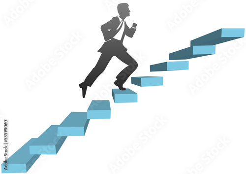 Business man running climb stairs