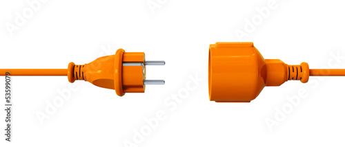 Leinwanddruck Bild Orange connection cable - unplugged