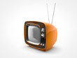 Vintage orange TV in perspective view