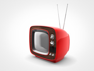 Vintage red TV in perspective view