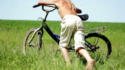 boy ride on the field