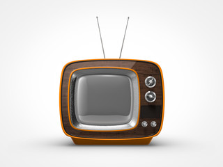 Vintage orange TV in front view