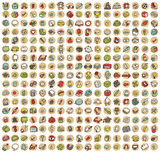 Fototapety Collection of 289 school and education doodled icons