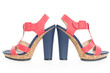 Pair of trendy navy blue and pink shoes, on white