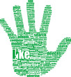 Hand symbol, composed of text keywords on social media themes