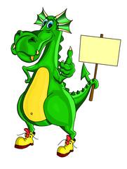 Зеленый дракон держит плакат и показывает знак все хорошо