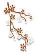 Zweig braun mit Blüten
