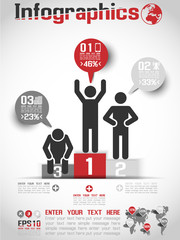 INFOGRAPHICS MODERN BUSINESS BUBBLE ICON MAN STYLE 3 RED