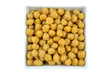 closeup chickpeas on a white background