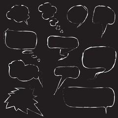 set of speech bubbles on black background