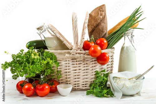 Basket full of healthy products