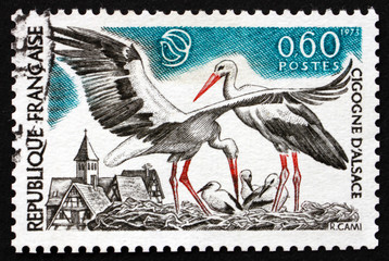 Postage stamp France 1973 White Storks, Bird