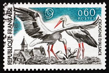 Postage stamp France 1973 White Storks, Bird