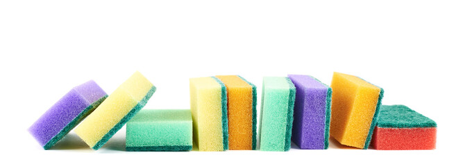 Colorful kitchen sponge composition