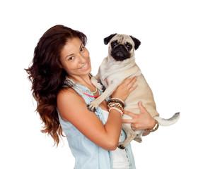 Brunette girl with her pug dog