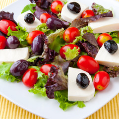 Fresh spring mix salad with tomatoes, mozzarella and olives.