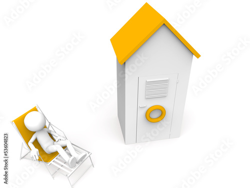 White man sitting and beach cabin