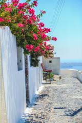 Traditional empty street in Fira, Santorini, Greece