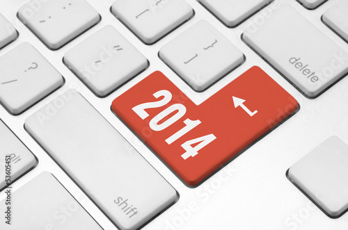 2014 on the computer keyboard