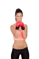 Attractive girl with boxing gloves