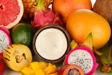 Composition of exotic fruits close-up background