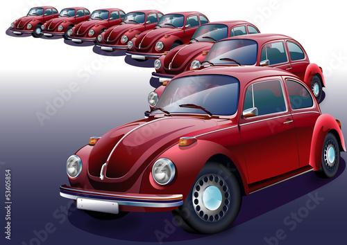 Nostaljik  kırmızı  otomobiller