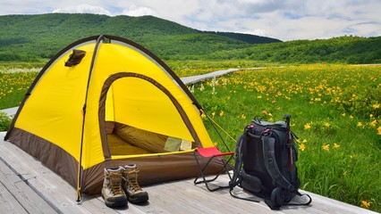 花と緑のテントキャンプ