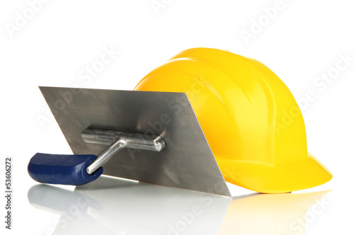 Metal tool for building and helmet isolated on white