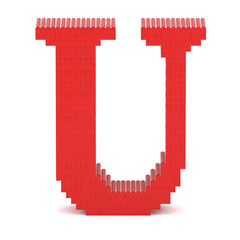 Letter U built from toy bricks