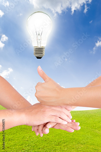 light bulb on hand