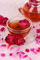 Rose tea close up