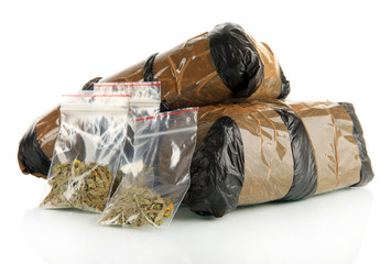 Packages of  narcotics isolated on white