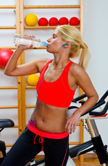 attractive woman drinks water