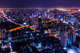 aerial view of bangkok at twilight night