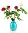 Beautiful roses in vase, isolated on white
