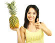 Girl with fresh pineapple isolated on white