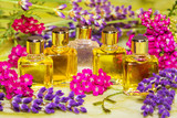 Fresh spring flowers with essential oil