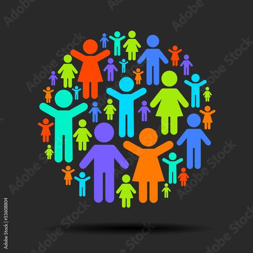 Teamwork and social interaction. Pictogram people in a circle