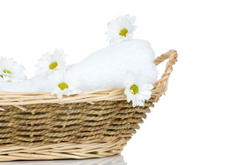 Towel and Chamomile flowers