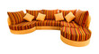 orange sofa isolated with clipping path