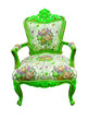 green luxury armchair isolated with clipping path