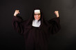 Angry Nun with fists in the air
