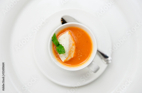Gazpacho soup served in coffee cup